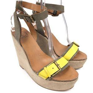 Lucky Brand Buckle Suede Platform Sandals 9.5